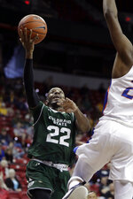 Colorado State's J.D. Paige shoots against Boise State during the second half of an NCAA college basketball game in the Mountain West Conference tournament, Wednesday, March 13, 2019, in Las Vegas. (AP Photo/Isaac Brekken)