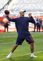 Chicago Bears quarterback Mitchell Trubisky warms up before an NFL football game against the Green Bay Packers Thursday, Sept. 5, 2019, in Chicago. (AP Photo/Charles Rex Arbogast)