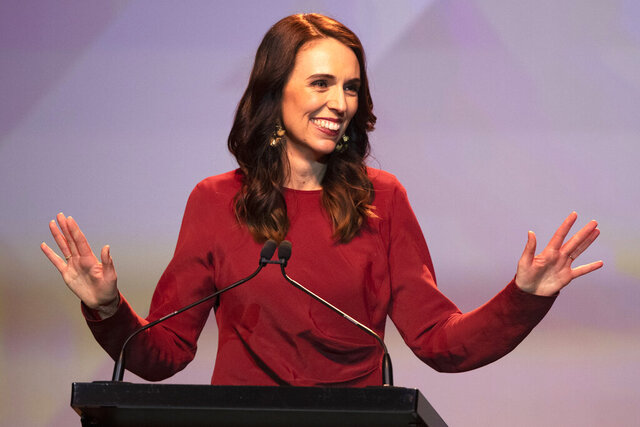 FILE - In this Oct. 17, 2020, file photo, New Zealand's Prime Minister Jacinda Ardern gestures as she gives her victory speech to Labour Party members at an event in Auckland, New Zealand. Ardern announced her new Cabinet lineup Monday, Nov. 2, 2020, after her liberal Labour Party won reelection in a landslide victory last month. (AP Photo/Mark Baker, File)