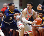 Ohio State guard Duane Washington, right, drives in front of Kent State guard Troy Simons during the first half of an NCAA college basketball game in Columbus, Ohio, Monday, Nov. 25, 2019. (AP Photo/Paul Vernon)