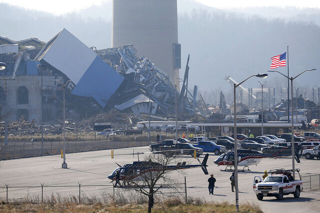 The Killen Generating Station, a closed power plant in Adams County, Ohio, collapsed Wednesday, Dec. 9, 2020. Several workers were unaccounted for and one was taken to a hospital after a power plant that was being demolished in Ohio collapsed Wednesday. It was not clear what caused the collapse at the Killen Generating Station, Adams County Sheriff Kimmy Rogers said. (Sam Greene/The Cincinnati Enquirer via AP)