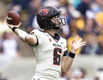 Oregon State quarterback Jake Luton (6) passes against the California in the second quarter of an NCAA college football game in Berkeley, Calif., Saturday, October 19, 2019. (AP Photo/John Hefti)
