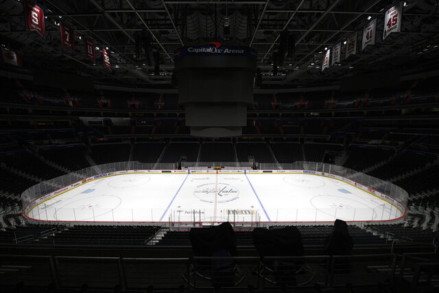 FILE - This is a March 12, 2020, file photo showing Capital One Arena, home of the Washington Capitals NHL hockey club in Washington. Get used to the concept of pods and pucks if the NHL is going to have any chance of completing its season, with the most likely scenarios calling for games in empty, air-conditioned arenas during the dog days of summer. (AP Photo/Nick Wass, File)