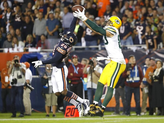 Chicago Bears' Prince Amukamara breaks up a pass intended for Green Bay Packers' Jimmy Graham during the second half of an NFL football game Thursday, Sept. 5, 2019, in Chicago. (AP Photo/Charles Rex Arbogast)