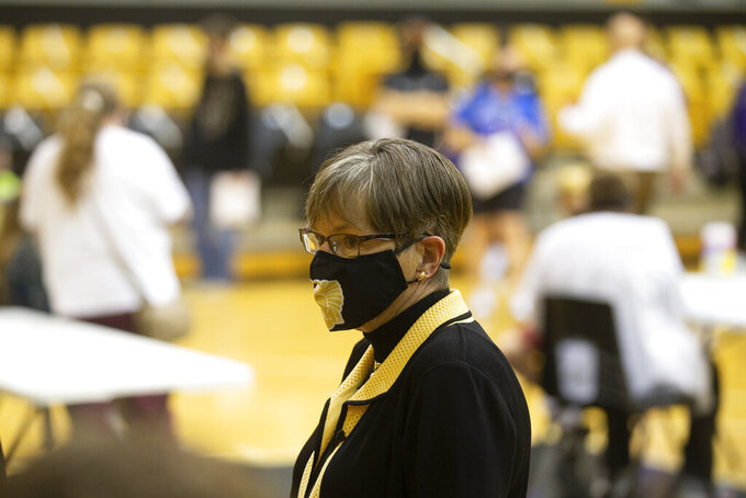 Kansas Gov. Laura Kelly tours a vaccination clinic at Topeka High School Monday, May 17, 2021, in Topeka, Kan. (Evert Nelson/The Topeka Capital-Journal via AP)