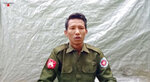 """In this image taken from video provided by the Arakan Army, Private Myo Win Tun provides a video testimony from an undisclosed location somewhere in Myanmar on July 23, 2020. Two soldiers who deserted from Myanmar's army have testified on video that they were instructed by commanding officers to """"shoot all that you see and that you hear"""" in villages where minority Rohingya Muslims lived, a human rights group said Tuesday, Sept. 8, 2020. (Arakan Army via AP)"""
