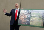 President Donald Trump holds a photo of the border area as he reviews border wall prototypes, Tuesday, March 13, 2018, in San Diego. (AP Photo/Evan Vucci)