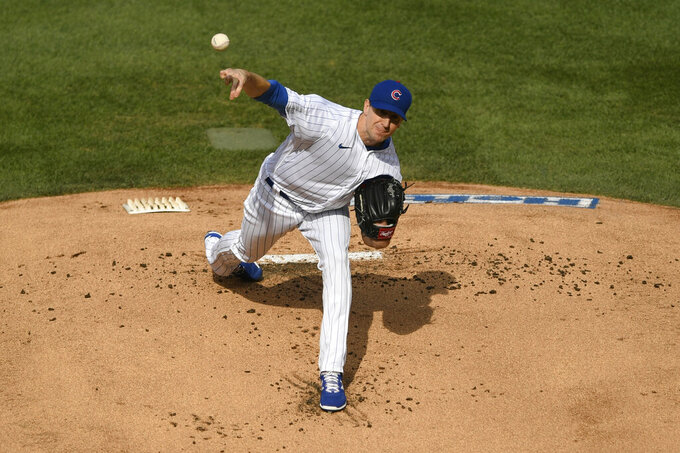 Chicago Cubs starter Kyle Hendricks delivers during the first inning of a baseball game against the St. Louis Cardinals, Monday, Sept. 7, 2020, in Chicago. (AP Photo/Paul Beaty)