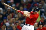 Boston Red Sox's Brock Holt follows through on an RBI single during the fourth inning of the team's baseball game against the New York Yankees in Boston, Friday, Sept. 6, 2019. (AP Photo/Michael Dwyer)