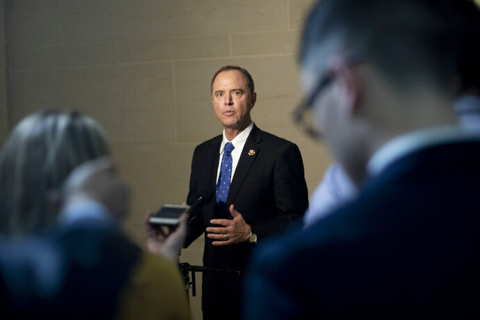 House Intelligence Committee Chairman Rep. Adam Schiff, of Calif., speaks to the media as he returns to a closed door meeting where Ambassador to the European Union Gordon Sondland, is being interviewed as part of the House impeachment inquiry into President Donald Trump, on Capitol Hill in Washington, Thursday, Oct. 17, 2019. (AP Photo/Pablo Martinez Monsivais)