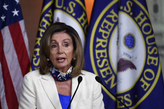 House Speaker Nancy Pelosi of Calif., speaks during a news conference on Capitol Hill in Washington, Thursday, July 16, 2020. (AP Photo/Susan Walsh)
