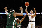 Iowa State guard Prentiss Nixon (11) shoots over Mississippi Valley State's Caleb Hunter, center, and Richard Rivers Jr., left, during the first half of an NCAA college basketball game, Tuesday, Nov. 5, 2019, in Ames, Iowa. (AP Photo/Charlie Neibergall)