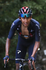 Colombia's Egan Bernal climbs Grand Colombier during the stage 15 of the Tour de France cycling race over 174 kilometers (108 miles), with start in Lyon and finish in Grand Colombier, Sunday, Sept. 13, 2020. (AP Photo/Christophe Ena)