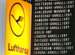 In this Wednesday, April 27, 2016, file photo, cancelled flights appear on a board when German ver.di union went on a warning strike at German airports in Frankfurt, Germany. A German labor union is calling on security staff at Frankfurt airport to go on strike on Tuesday, Jan. 15, 2019 in a dispute over pay. (AP Photo/Michael Probst, file)