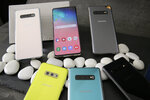 In this Tuesday, Feb. 19, 2019, photo is a selection of the new Samsung Galaxy S10 smartphones during a product preview in San Francisco. (AP Photo/Eric Risberg)
