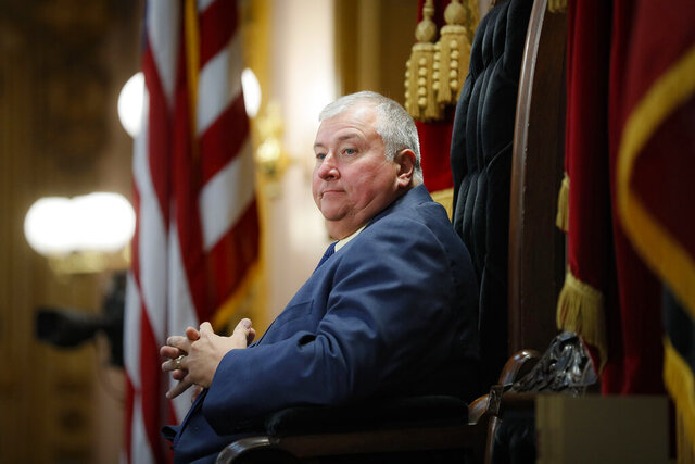 FILE - In this Oct. 30, 2019, file photo, Republican Ohio state Rep. Larry Householder sits at the head of a legislative session as Speaker of the House, in Columbus. Householder's name will be on the ballot Nov. 3, 2020, as the disgraced lawmaker intends to serve his district for another term despite facing federal bribery charges for his alleged involvement in a $60 million bribery scheme that shook the Statehouse this summer and led his party to remove him from the House speaker role. (AP Photo/John Minchillo, File)
