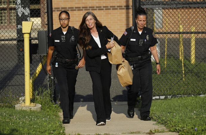 Former Pennsylvania Attorney General Kathleen Kane departs from the Montgomery County Correctional Facility in Eagleville, Pa., on Wednesday, July 31, 2019.  Kane was sentenced in 2016 to 10-to-23 months for perjury, obstruction and other counts. (AP Photo/Matt Rourke)