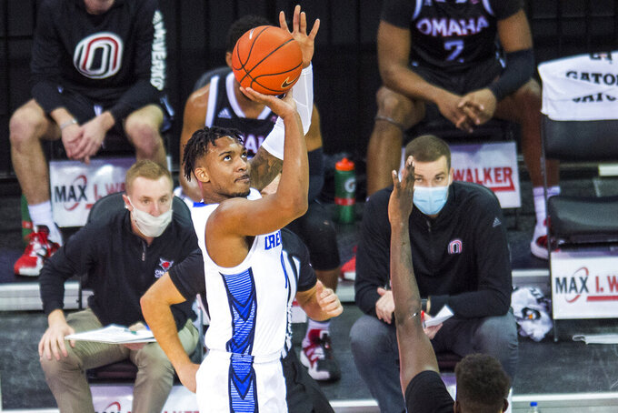 Creighton's Antwann Jones shoots against Omaha during the first half of an NCAA college basketball game in Omaha, Neb., Tuesday, Dec. 1, 2020. (AP Photo/Kayla Wolf)