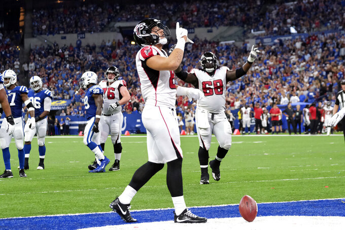 Atlanta Falcons tight end Austin Hooper (81) reacts after scoring a touchdown during the second half of an NFL football game against the Indianapolis Colts, Sunday, Sept. 22, 2019, in Indianapolis. (AP Photo/AJ Mast)