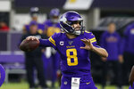 Minnesota Vikings quarterback Kirk Cousins throws a pass during the first half of an NFL football game against the Washington Redskins, Thursday, Oct. 24, 2019, in Minneapolis. (AP Photo/Jim Mone)