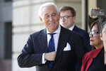 FILE - In this Nov. 15, 2019, file photo Roger Stone exits federal court in Washington. A federal prosecutor is prepared to tell Congress on Wednesday, June 24, 2020, that Stone, a close ally of President Donald Trump, was given special treatment ahead of his sentencing because of his relationship with the president. (AP Photo/Julio Cortez, File)