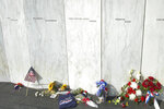 The panel displaying the name of Richard J. Guadagno is shown at the Flight 93 National Memorial in 2003 in Shanksville, Pa. Since opening in 2011, the National Park Service and partners have worked to restore the land to its natural beauty. (Anthony Conroy/Pittsburgh Post-Gazette via AP)