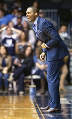 Butler head coach LaVall Jordan directs the team's offense during the first half of an NCAA college basketball game against Providence, Tuesday, Feb. 26, 2019, in Indianapolis. (AP Photo/Doug McSchooler)