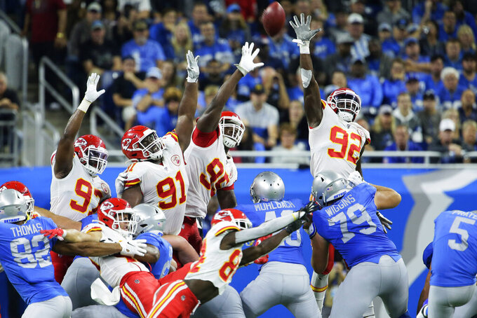 The Kansas City Chiefs defense attempts to block a field goal by Detroit Lions kicker Matt Prater (5) during the first half of an NFL football game, Sunday, Sept. 29, 2019, in Detroit. (AP Photo/Duane Burleson)