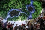 Climate change activists float a banner for earth's rivers during a climate strike rally, as part of a global youth-led day of global action, Friday Sept. 20, 2019, in New York. (AP Photo/Bebeto Matthews)