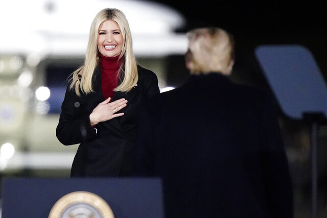 Ivanka Trump comes onto stage as President Donald Trump speaks at a campaign rally in support of Senate candidates Sen. Kelly Loeffler, R-Ga., and David Perdue in Dalton, Ga., Monday, Jan. 4, 2021. (AP Photo/Brynn Anderson)