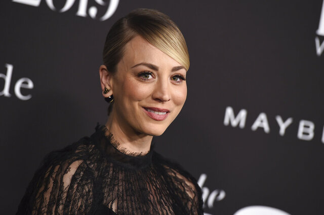 """FILE - Kaley Cuoco arrives at the 5th annual InStyle Awards on Oct. 21, 2019, in Los Angeles. Cuoco was looking for her next project three years before """"The Big Bang Theory"""" ended. She found it reading a snippet about a book on Amazon. """"The Flight Attendant"""" is a dark thriller with comedic overtones, letting Cuoco employ the love of laughter she honed for 12 seasons on the CBS comedy. It's based on the novel of the same name by Chris Bohjalian, and Cuoco said she won """"a bidding war"""" for the rights. (Photo by Jordan Strauss/Invision/AP, File)"""