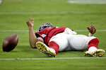 Arizona Cardinals quarterback Kyler Murray lies on the turf after being sacked against the Carolina Panthers during the second half of an NFL football game, Sunday, Sept. 22, 2019, in Glendale, Ariz. The Panthers won 38-20. (AP Photo/Ross D. Franklin)