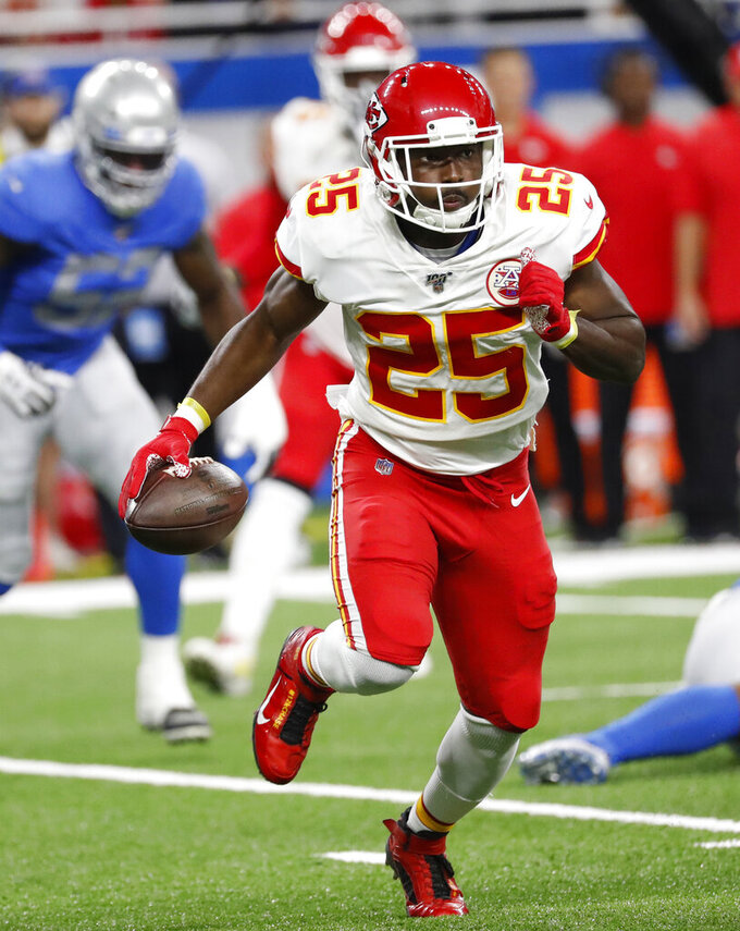 Kansas City Chiefs running back LeSean McCoy rushes during the first half of an NFL football game against the Detroit Lions, Sunday, Sept. 29, 2019, in Detroit. (AP Photo/Rick Osentoski)