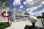 Minnesota Twins' Hammond Stadium is closed, Friday, March 13, 2020, in Fort Myers, Fla. Major League Baseball has suspended the rest of its spring training game schedule because of the coronavirus outbreak. The league is also delaying the start of its regular season by at least two weeks. (AP Photo/Elise Amendola)