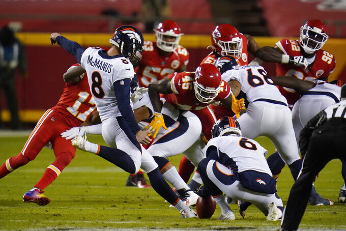Denver Broncos kicker Brandon McManus (8) kicks a 53-yard field goal against the Kansas City Chiefs in the first half of an NFL football game in Kansas City, Mo., Sunday, Dec. 6, 2020. (AP Photo/Jeff Roberson)