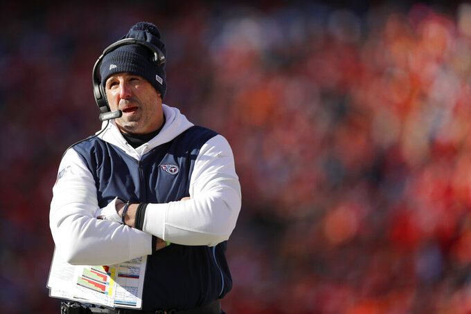 Tennessee Titans head coach Mike Vrabel watches during the first half of the NFL AFC Championship football game against the Kansas City Chiefs Sunday, Jan. 19, 2020, in Kansas City, MO. (AP Photo/Jeff Roberson)
