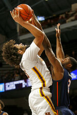 Illinois' Kipper Nichols (2) blocks the shot of Minnesota's Jordan Murphy during the first half of an NCAA college basketball game Wednesday, Jan. 30, 2019, in Minneapolis. (AP Photo/Bruce Kluckhohn)
