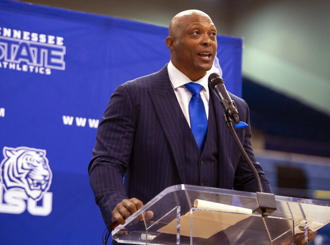 New Tennessee State University NCAA college football head coach Eddie George speaks during a press conference in Nashville, Tuesday, April 13, 2021. (George Walker/The Tennessean via AP)