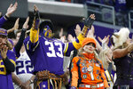 Fans react during the second half of an NFL football game between the Minnesota Vikings and the Denver Broncos, Sunday, Nov. 17, 2019, in Minneapolis. (AP Photo/Bruce Kluckhohn)