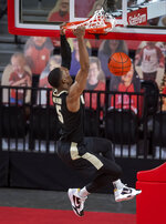 Purdue's Brandon Newman (5) dunks after a steal against Nebraska during the first half of an NCAA college basketball game on Saturday, Feb. 20, 2021, in Lincoln, Neb. (Francis Gardler/Lincoln Journal Star via AP)