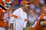 Clemson head coach Dabo Swinney calls out commands during the first half of an NCAA college football game against Boston College, Saturday, Oct. 26, 2019, in Clemson, S.C. (AP Photo/Richard Shiro)