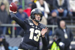 FILE - Purdue quarterback Jack Plummer (13) throws against Nebraska during the first half of an NCAA college football game in West Lafayette, Ind., Saturday, Nov. 2, 2019. Brohm named Jack Plummer the starting quarterback late last week, partially because of his mobility. But Brohm also made it clear he's still willing to make a change -- if he doesn't get the kind of play he expects. (AP Photo/Michael Conroy, File)