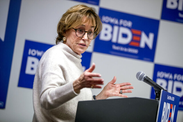 FILE - In this Jan. 8, 2020 file photo, Valerie Biden Owens speaks at a campaign stop to support her brother, Democratic presidential candidate former Vice President Joe Biden at the Biden for President Des Moines South Side Office, in Des Moines, Iowa. For the better part of a half-century Valerie Biden Owens cultivated the political career of her brother, Joe Biden, now the Democratic nominee for president. During that time Valerie Biden Owens managed 36 years of Senate campaigns and two unsuccessful presidential bids for her brother. (AP Photo/Andrew Harnik)