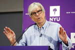 Paul Romer, co-winner of the 2018 Nobel Prize for Economics, speaks at a news conference at the Stern School of Business of New York University, in New York, Monday, Oct. 8, 2018. Romer has studied the way innovation drives prosperity and has looked at ways to encourage it. (AP Photo/Richard Drew)