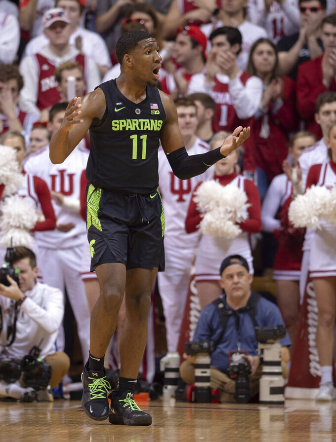 Michigan State forward Aaron Henry (11) reacts to a call during an NCAA college basketball game against Indiana, Saturday, March 2, 2019, in Bloomington, Ind. (AP Photo/Doug McSchooler)