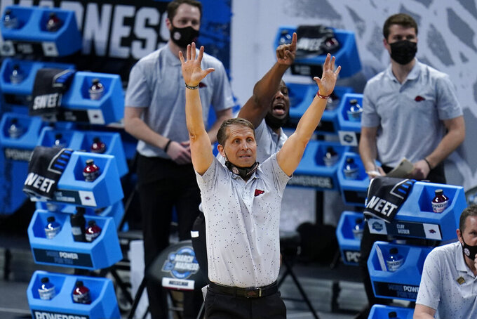 Arkansas head coach Eric Musselman reacts during the second half of a Sweet 16 game against Oral Roberts in the NCAA men's college basketball tournament at Bankers Life Fieldhouse, Saturday, March 27, 2021, in Indianapolis. (AP Photo/Jeff Roberson)