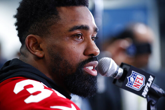 San Francisco 49ers running back Raheem Mostert speaks during a media availability, Thursday, Jan. 30, 2020, in Miami, for the NFL Super Bowl 54 football game against the Kansas City Chiefs. (AP Photo/Wilfredo Lee)