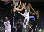 Baylor forward Freddie Gillespie (33) grabs a rebound against Central Arkansas center Hayden Koval (15), left, and Central Arkansas forward Jared Chatham (24) in the first half of an NCAA college basketball game Tuesday, Nov. 5, 2019, in Waco, Texas. (AP photo/ Jerry Larson)
