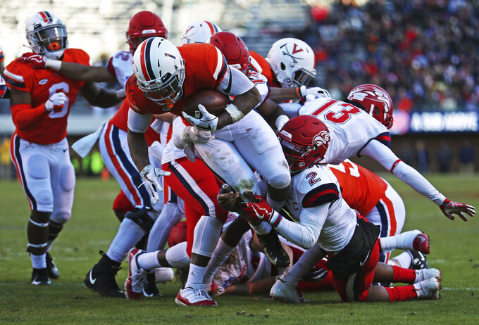 Virginia tailback Jordan Ellis (1) is caught just short of the goal line in the first half  of an NCAA college football game against Liberty Saturday, Nov. 10, 2018, in Charlottesville, Va. (Zack Wajsgras /The Daily Progress via AP)