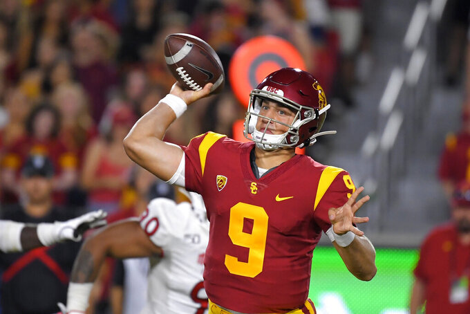 Southern California quarterback Kedon Slovis passes during the second half of an NCAA college football game against Fresno State Saturday, Aug. 31, 2019, in Los Angeles. USC won 31-23. (AP Photo/Mark J. Terrill)